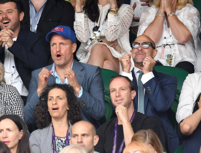 Check out these celebrities at the 2017 Wimbledon tournament: Woody Harrelson & Stanley Tucci