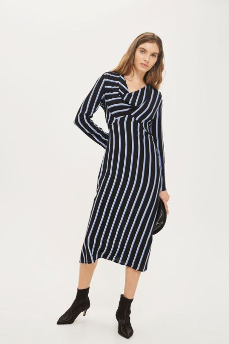 Must-Have Long Sleeve Dresses | Striped Bias Midi Skater Dress