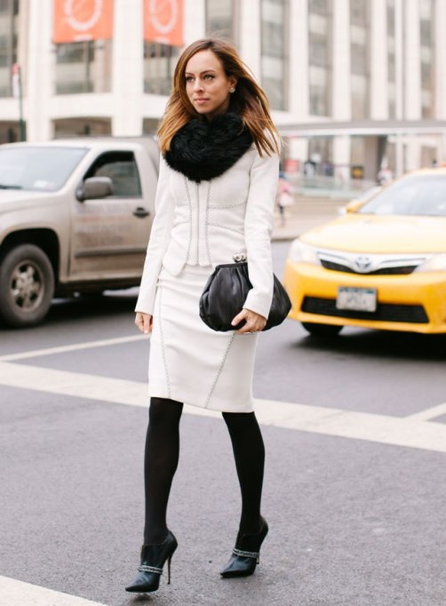 Ways to Wear an Infinity Scarf | White Outfit Black Booties and Infinity Scarf