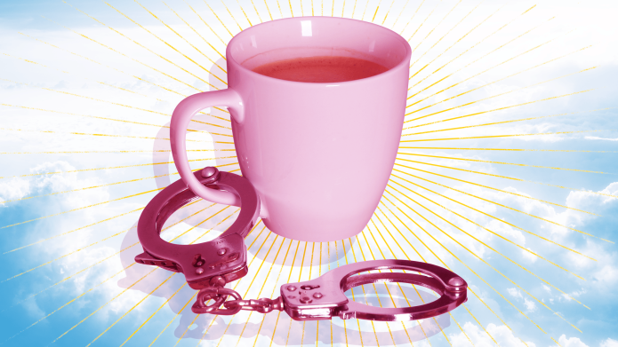 coffee cup handcuffs morning sex