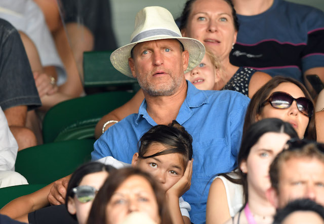 Woody Harrelson attends day 12 of the Wimbledon Tennis Championships at the All England Lawn Tennis and Croquet Club