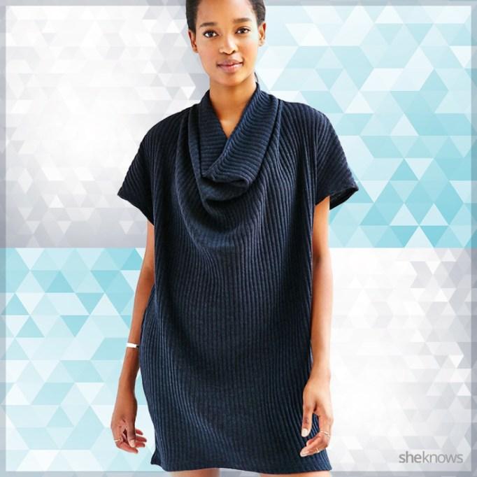 Blue cowl neck sweater dress