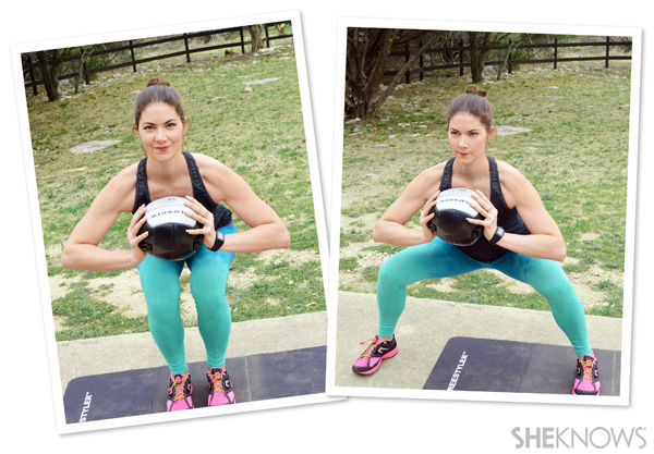 Wide to narrow squat with medicine ball