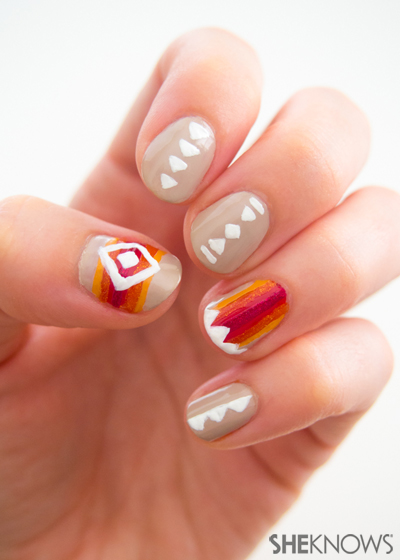 Native American tribal inspired nail art | Sheknows.com -- adding details