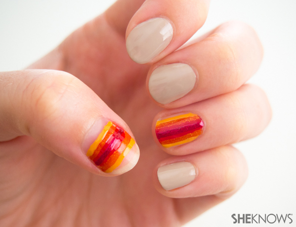 Native American tribal inspired nail art | Sheknows.com -- detailed stripes