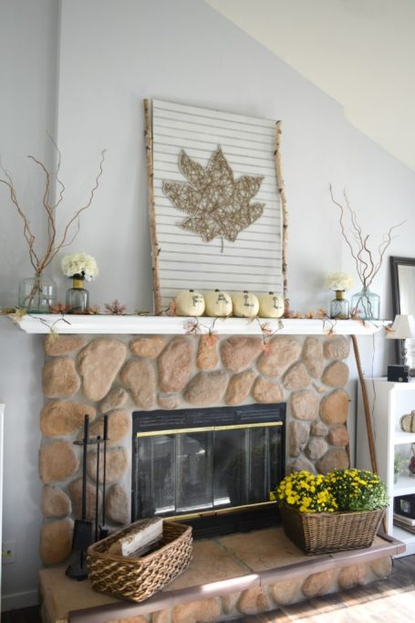 Easy Fall Decor DIYs: Display this maple leaf string art piece above your mantel