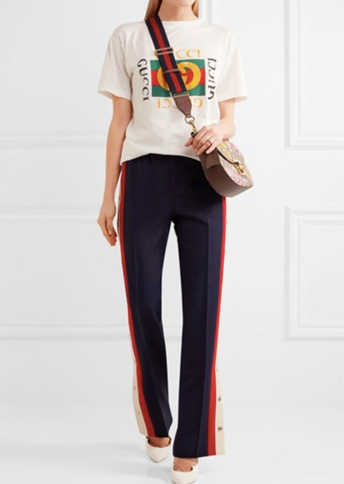 Track Pants to Shop Now: Gucci Striped Wool-Blend Crepe Track Pants | Summer Fashion Trends 2017