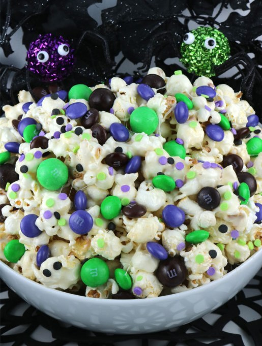 The Best Halloween Desserts on Pinterest: This colorful popcorn is great for scary movie nights