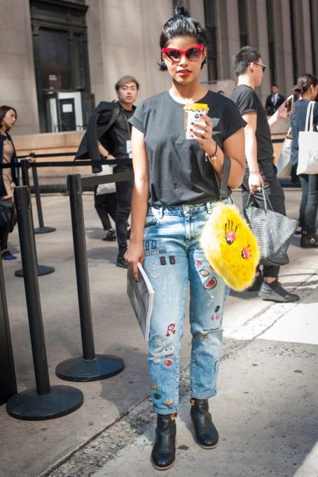 Fashion week street style denim trends