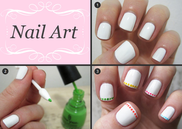 Neon polka dot French manicure