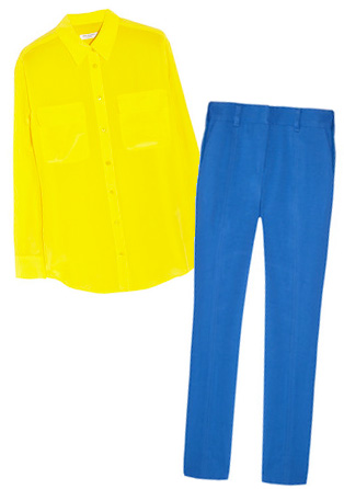 Equipment electric yellow silk button down and Reed Krakoff bright blue slacks