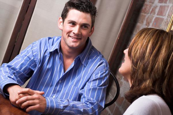 Nervous couple talking