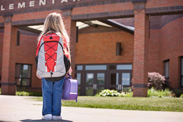 Nervous girl going back to school
