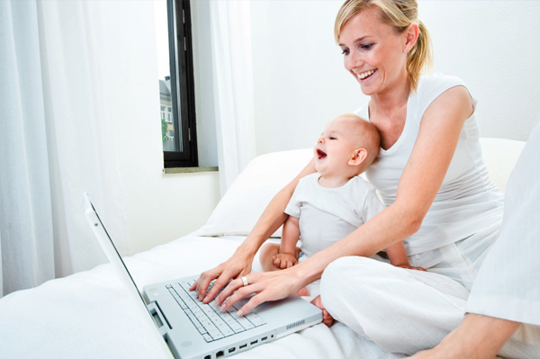 Mom with baby shopping online