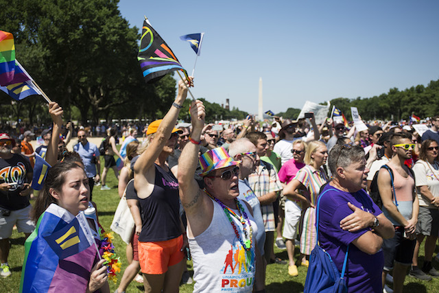 Demonstrators cheer during the Equality March for Unity and Peace