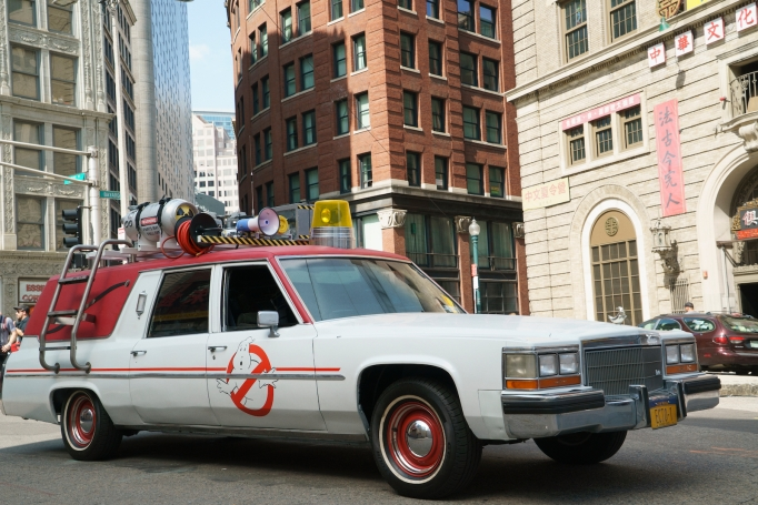 The Ecto 1 vehicle from Ghostbusters