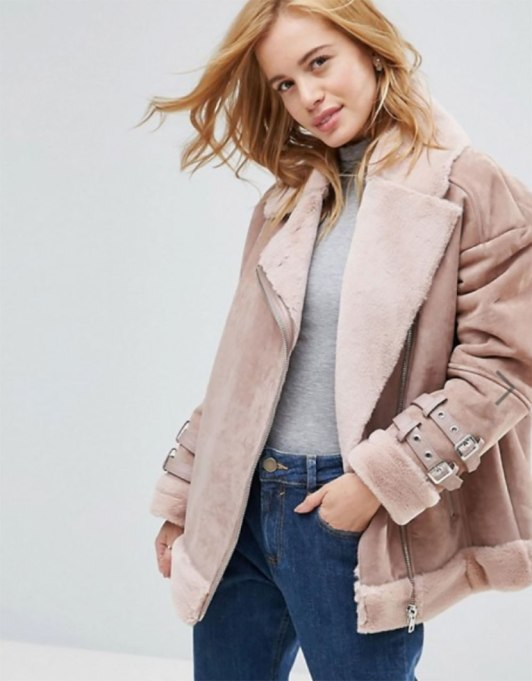 Perfect to Wear Shearling This Season | Petite Suede Aviator Coat