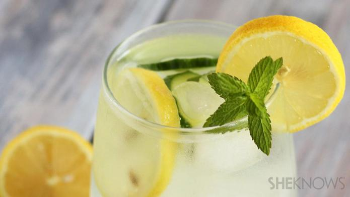 Cucumber lemon mint-infused water
