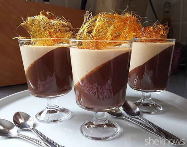 Dark chocolate gelee and caramel panna