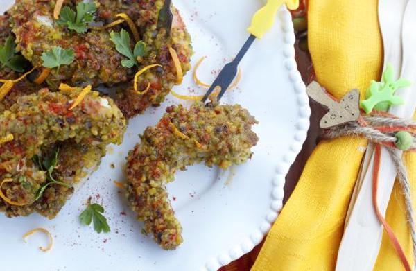 Pistachio-crusted shrimp with paprika