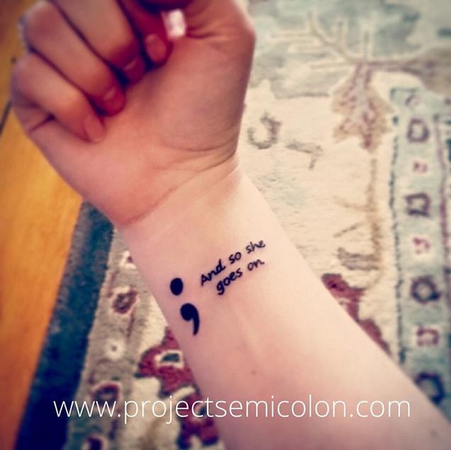 Goes on semicolon tattoo