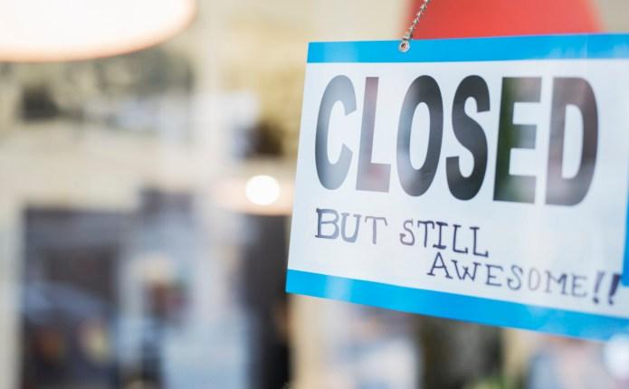 Close up of unique closed sign