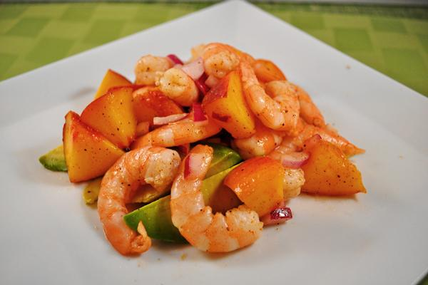 Tonight's Dinner: Curried peach and shrimp