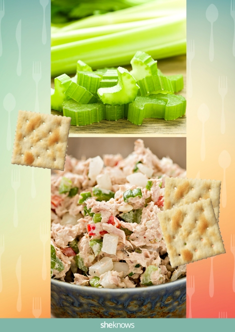 Tuna salad with a side of celery and saltine crackers