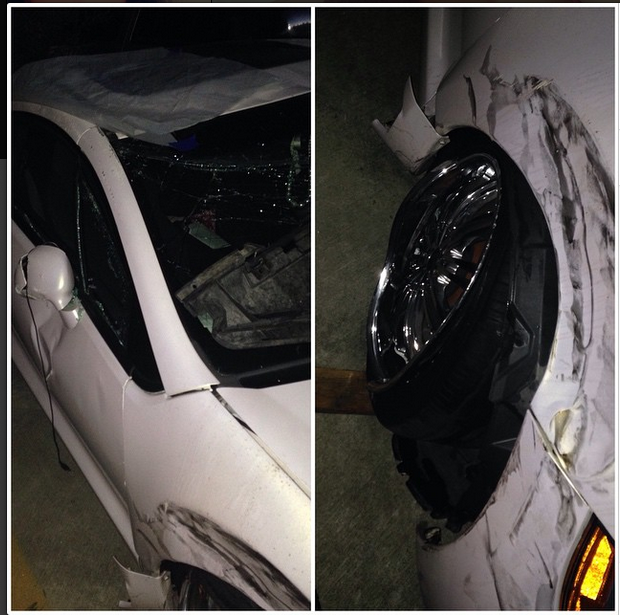 Nia Riley shares a picture of her car crash