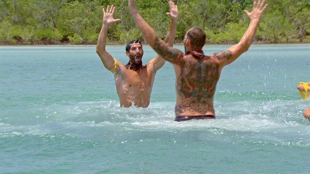 Nick Maiorano and Scot Pollard celebrate challenge victory on Survivor: Kaoh Rong