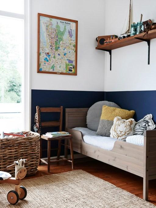 Navy Blue Half-Painted Kids' Room