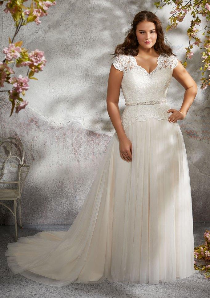 V-Neck Lace Shoulder Wedding Dress