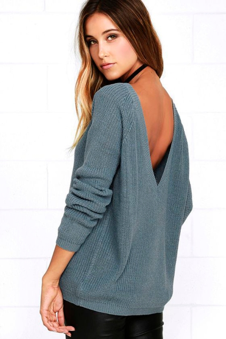 Cozy Sweaters For Under $100: Just for You Slate Blue Backless Sweater | Fall Fashion 2017