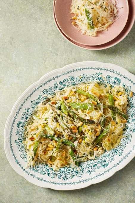 Spaghetti Squash with Asparagus, Ricotta, Lemon, and Thyme