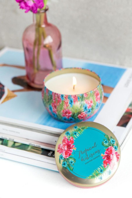 Hibiscus Floral Tin Candle