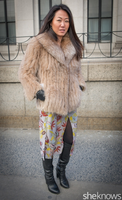 Skirt, fur coat