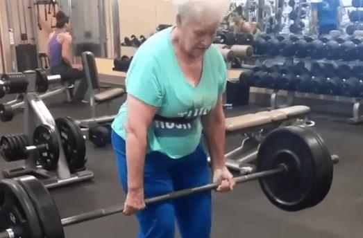 Amazing grandma can deadlift more than