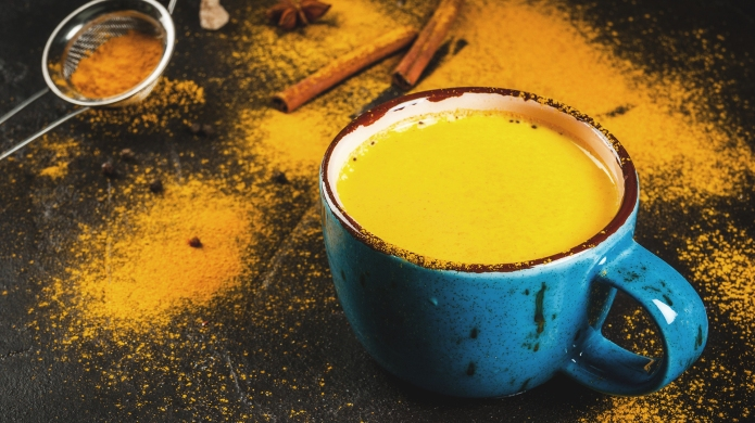 Traditional Indian drink turmeric milk is