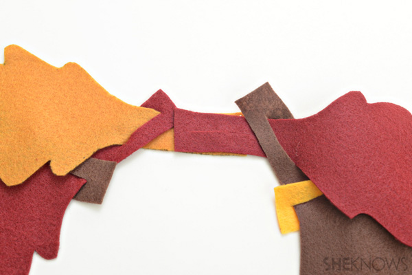 Attach leaf chains - No-sew fall scarf for kids