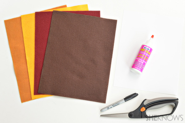 Materials for no-sew fall scarf