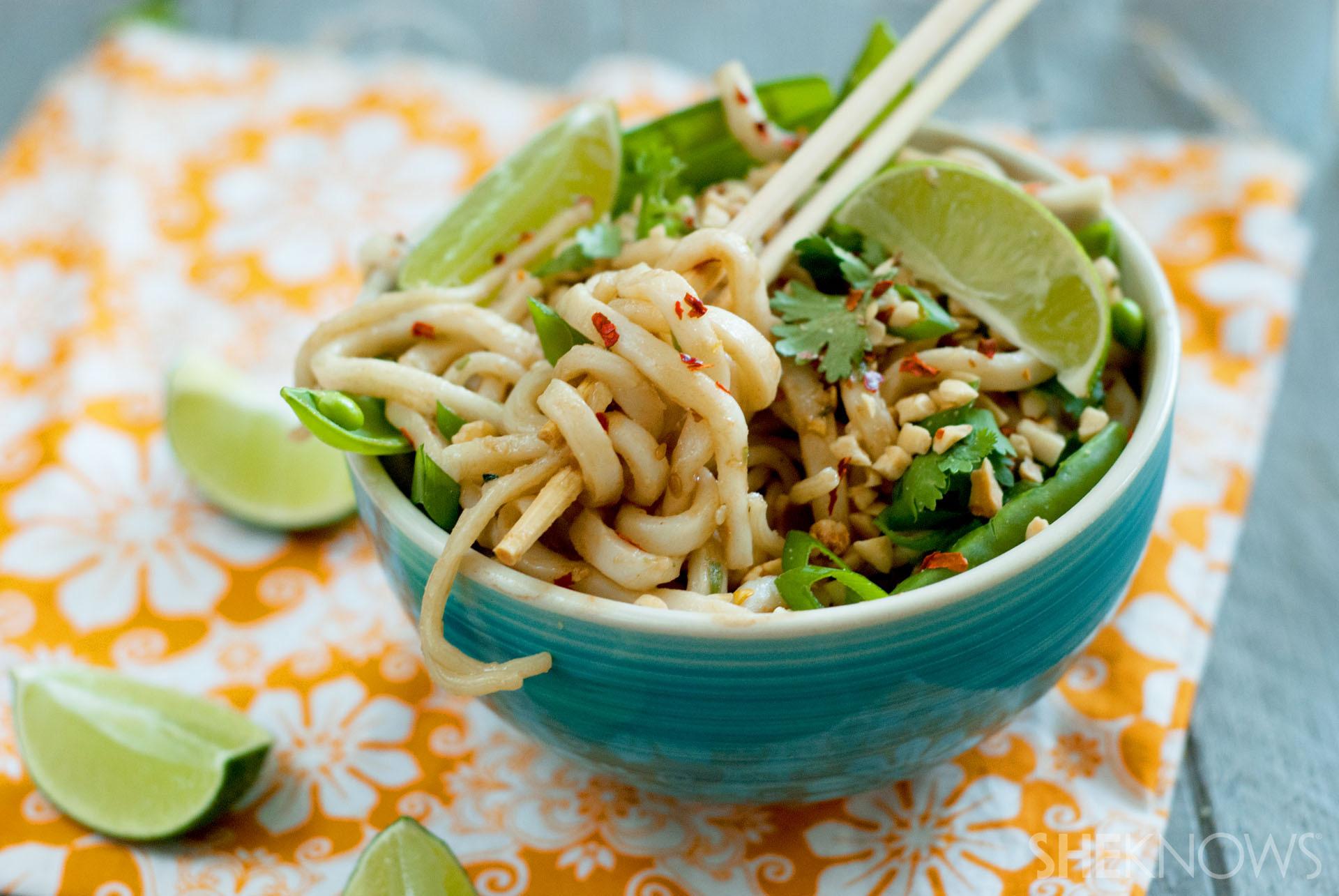 Coconut peanut udon noodle bowls recipe