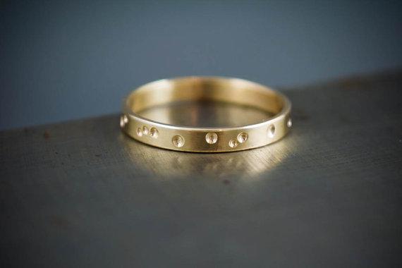 Minimalist Wedding Band Gold Constellation