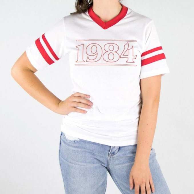 Modern Pieces For Every Woman's Work Wardrobe | 1984 varsity tee