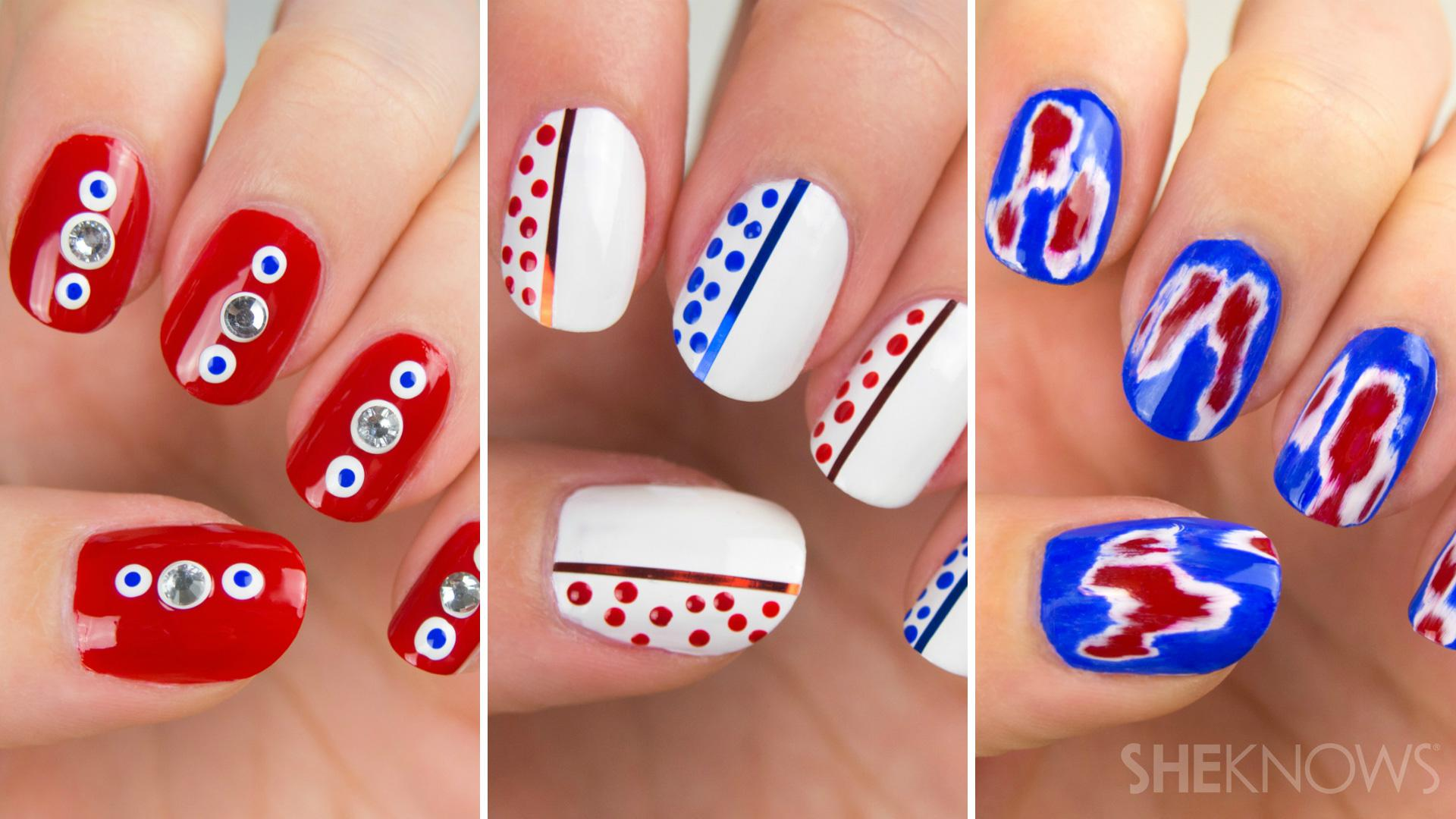 Amazing Red White And Blue Nail Art Sheknows