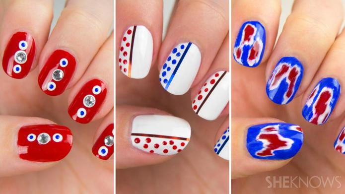 Amazing red, white and blue nail