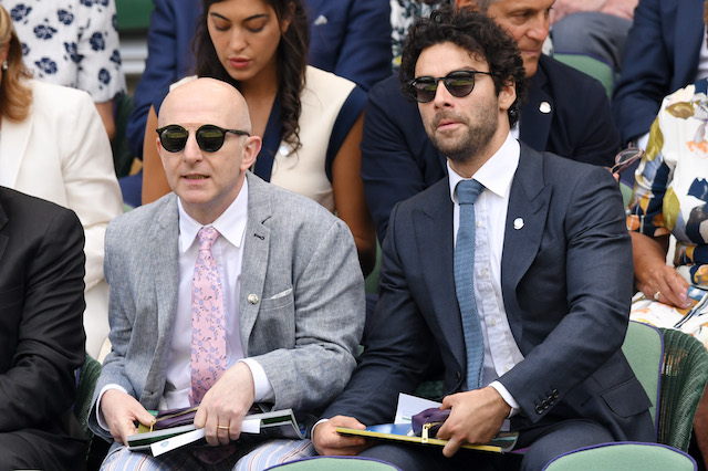 Aidan Turner attends day 11 of the Wimbledon Tennis Championships at the All England Lawn Tennis and Croquet Club