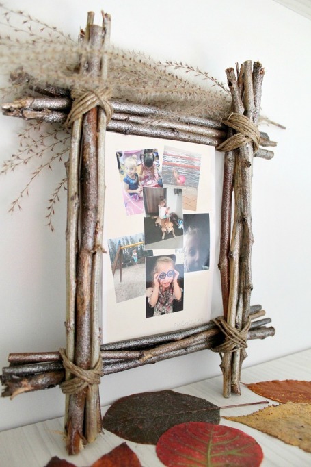 Easy Fall Decor DIYs: Twig picture frames give an autumn look to your family photos