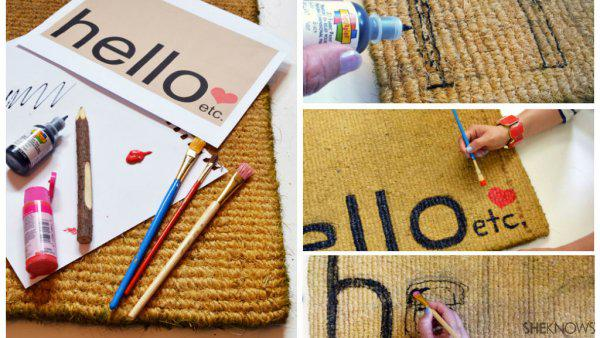 The cutest DIY doormat to welcome