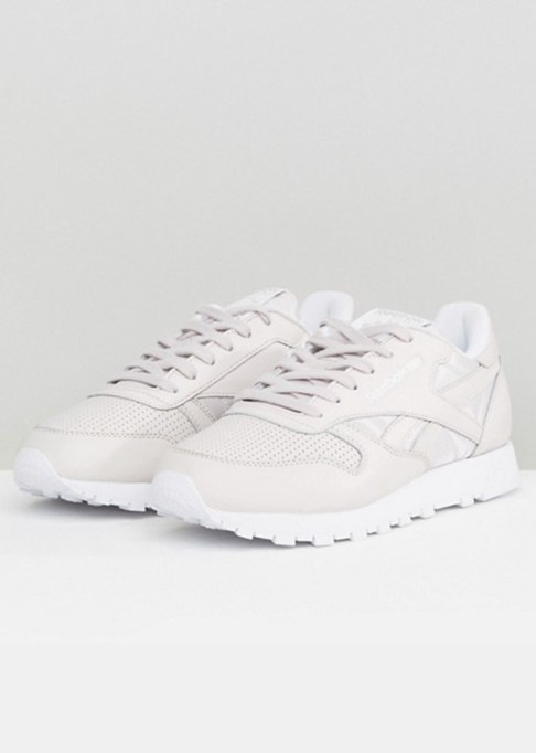 Ultra Comfy Workout Sneakers: Reebok Classic Leather Texture Sneakers in Lilac | Workout Gear 2017