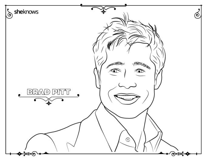 Brad Pitt coloring-book page